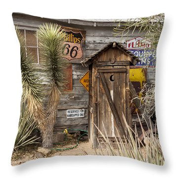 Historic Route 66 - Outhouse 2 Throw Pillow