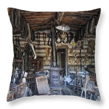 Historic Saddlery Shop - Montana Territory Throw Pillow by Daniel Hagerman