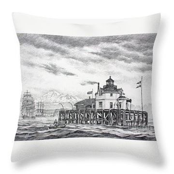 Historic Semiahmoo Lighthouse  Throw Pillow by James Williamson