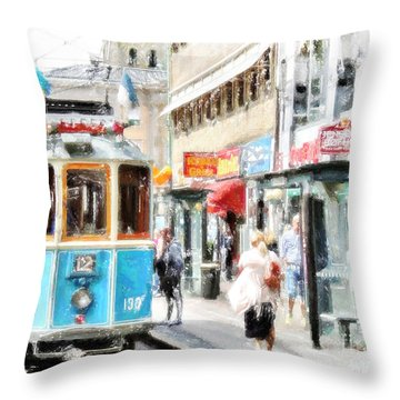 Historic Stockholm Tram Throw Pillow