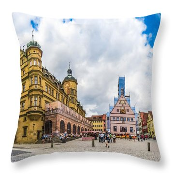 Historic Townsquare Of Rothenburg Ob Der Tauber, Franconia, Bava Throw Pillow