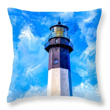 Historic Tybee Island Lighthouse Throw Pillow by Mark E Tisdale