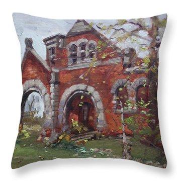 Historic Union Street Train Station In Lockport Throw Pillow