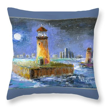 Historical 1859 South Channel Lights Full Moon Throw Pillow