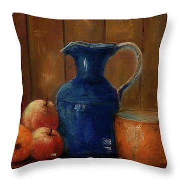 Throw Pillow featuring the painting Historical Jamestown Virginia Blue Colbalt Pitcher  by Bernadette Krupa