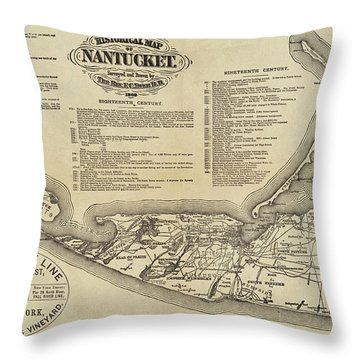 Historical Map Of Nantucket From 1602-1886 Throw Pillow