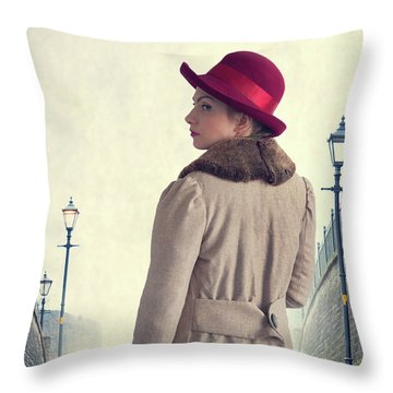 Historical Woman In An Overcoat And Red Hat Throw Pillow by Lee Avison