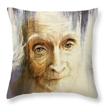 Throw Pillow featuring the painting Histories And Memories Of Ancestral Light 3 by J- J- Espinoza