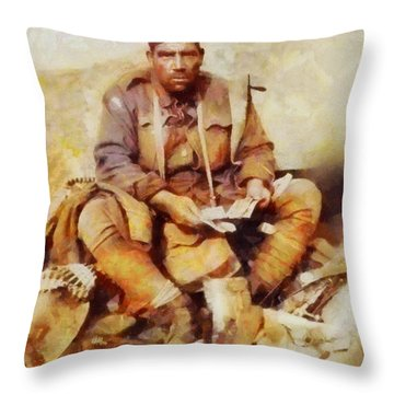 History In Color. Australian Soldier Pvt Barney Hines Wwi Throw Pillow