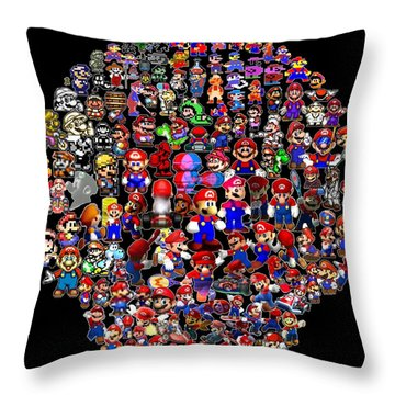 History Of Mario Mosaic Throw Pillow