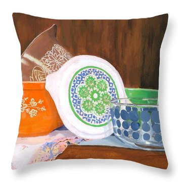 Throw Pillow featuring the painting History Of Pyrex by Lynne Reichhart