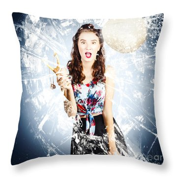 Hit And Miss Comic Pin-up Throw Pillow