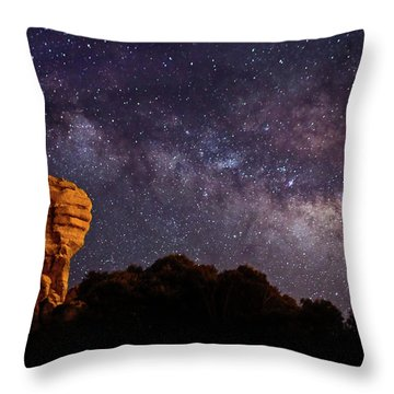 Hitchcock Pinnacle Nightscape -- Milky Way Throw Pillow