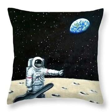 Hitchhiker With Guitar  Throw Pillow