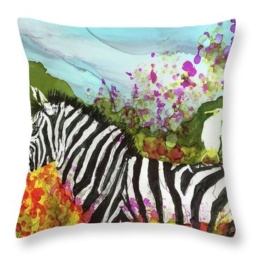 Throw Pillow featuring the painting Hitching A Ride by Suzanne Canner