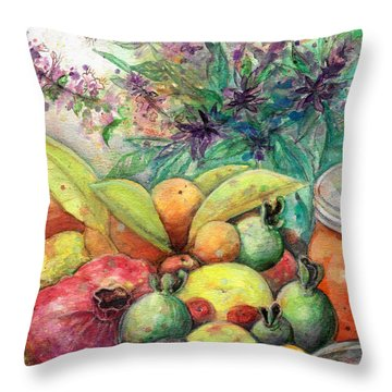 Throw Pillow featuring the painting Hitching Post Harvest by Ashley Kujan