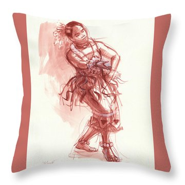 Hiva, Dancer Of Tonga Throw Pillow