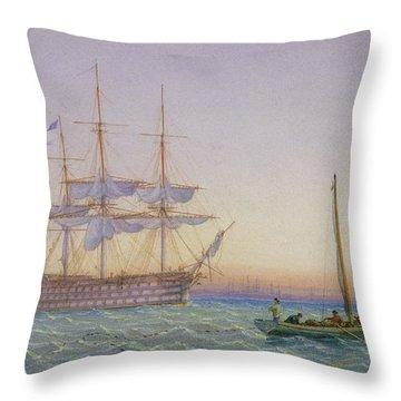 Hm Frigates At Anchor Throw Pillow by John Joy