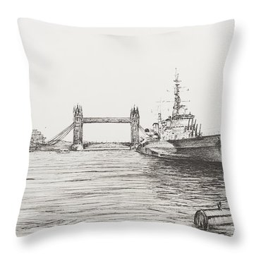 Hms Belfast On The River Thames Throw Pillow