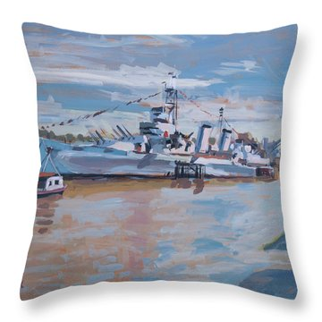 Hms Belfast Shows Off In The Sun Throw Pillow