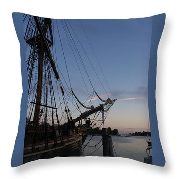 Hms Bounty Ship - Sunset At The Cove Throw Pillow