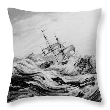 Hms Dorothea Commanded By David Buchan Driven Into Arctic Ice Throw Pillow