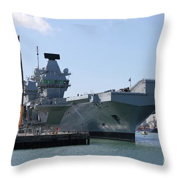 Hms Queen Elizabeth Aircraft Carrier At Portmouth Harbour Throw Pillow