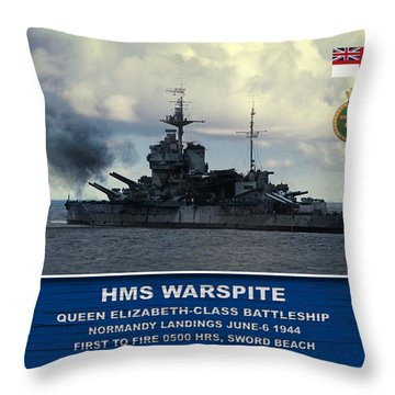 Hms Warspite Throw Pillow
