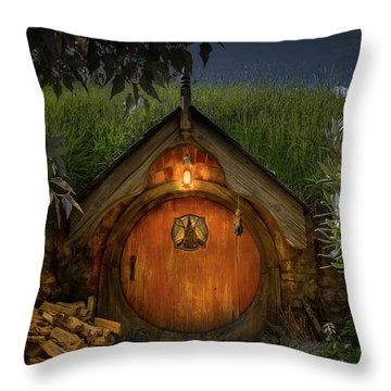 Hobbit Dwelling Throw Pillow