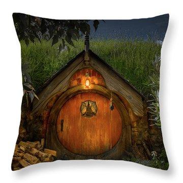 Hobbit Dwelling Throw Pillow