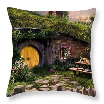 Hobbit Hole At Sunset Throw Pillow