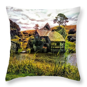 Hobbiton Mill And Bridge Throw Pillow