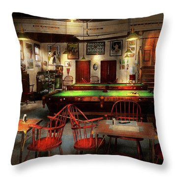 Throw Pillow featuring the photograph Hobby - Pool - The Billiards Club 1915 by Mike Savad