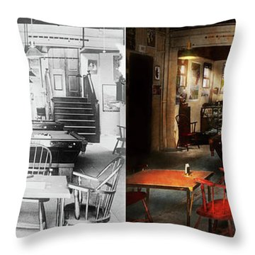 Throw Pillow featuring the photograph Hobby - Pool - The Billiards Club 1915 - Side By Side by Mike Savad