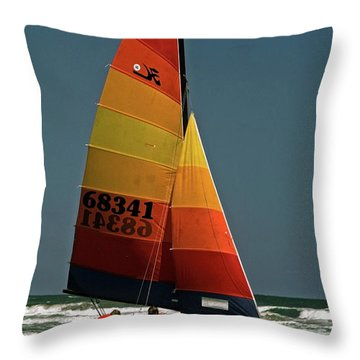 Hobie Cat In Surf Throw Pillow by Sally Weigand
