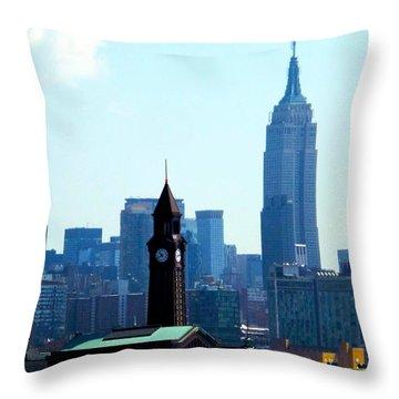 Hoboken And New York Throw Pillow