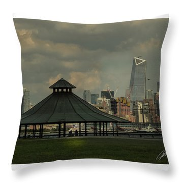 Hoboken, Nj -pier A Park Gazebo Throw Pillow