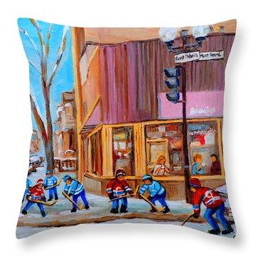 Hockey At Beautys Deli Throw Pillow by Carole Spandau