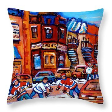 Hockey At Fairmount Bagel Throw Pillow by Carole Spandau