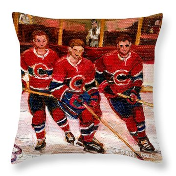 Hockey At The Forum Throw Pillow by Carole Spandau
