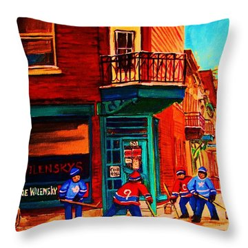 Hockey At Wilenskys Corner Throw Pillow by Carole Spandau