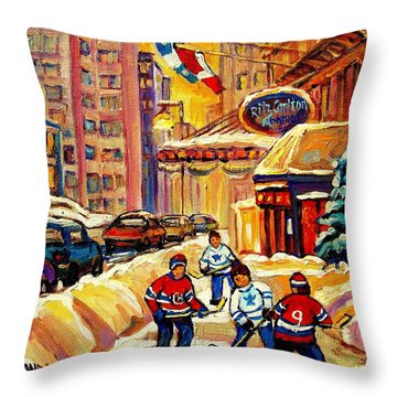 Hockey Fever Hits Montreal Bigtime Throw Pillow by Carole Spandau