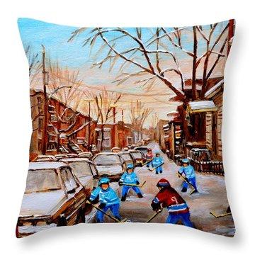 Hockey Gameon Jeanne Mance Street Montreal Throw Pillow by Carole Spandau