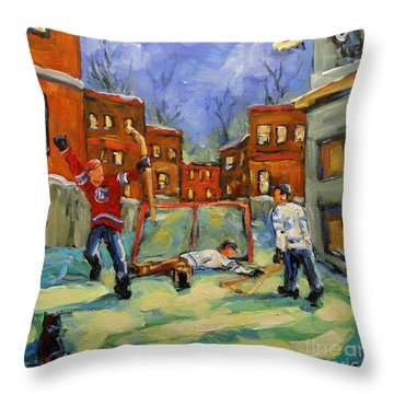 Hockey Kids He Scores Throw Pillow