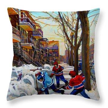 Hockey On De Bullion  Throw Pillow by Carole Spandau