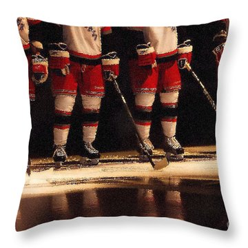 Hockey Reflection Throw Pillow by Karol Livote