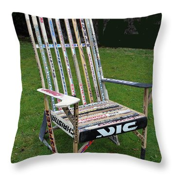 Hockey Stick Chair Throw Pillow