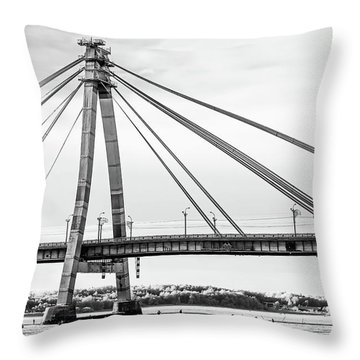 Hockey Under The Bridge Throw Pillow by Ant Rozetsky