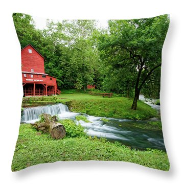 Hodgson Water Mill And Spring Throw Pillow by Cricket Hackmann