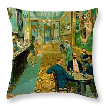Hoffman House Bar 1890 Throw Pillow by Padre Art